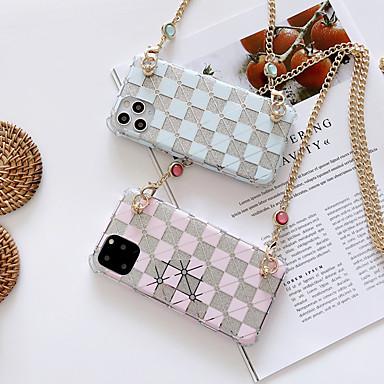 Недорогие Кейсы для iPhone-iphone11pro max блеск решетки роскошный модный длинный цепочка чехол для мобильного телефона xs max металлическая цепь может пересечь 6/7 / 8 плюс защитный чехол