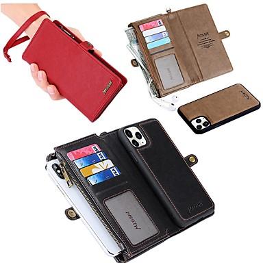 Недорогие Кейсы для iPhone-чехол для яблока iphone 11/11 pro / 11 pro max / 8 / 8plus / x / xs / xr / xs max / 7 / 7plus / 6 / 6s держатель карты бумажника ударопрочный магнитный кожаный чехол для всего тела чехол из