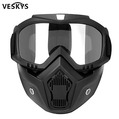 cheap Personal Protection-veskys Modular Mask Detachable Goggles And Mouth Filter Perfect for Open Face Motorcycle Half Helmet or Vintage Helmets