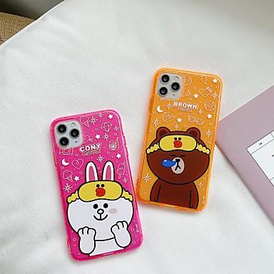 Недорогие Кейсы для iPhone-для яблока iphone 11 11pro 11promax 8p x xs xsmax xr 6p 6 7 8 простой мультфильм медведь кролик рисунок флуоресцентный высокий полупрозрачный тпу материал чехол для телефона