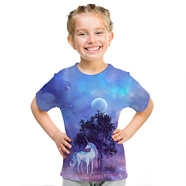 cheap Girls' Clothing-Kids Girls' Active Street chic Unicorn 3D Print Short Sleeve Tee Blue