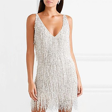 cheap Women's Dresses-Women's Sheath Dress Short Mini Dress - Sleeveless Solid Colored Backless Tassel Fringe Glitter Deep V Elegant Sexy Cocktail Party New Year Going out Silver S M L XL XXL