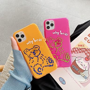 Недорогие Кейсы для iPhone-для яблока iphone 11 11pro 11promax 8p x xs xsmax xr 6p 6 7 8 простой мультфильм медведь шаблон флуоресцентный материал тпу чехол для телефона