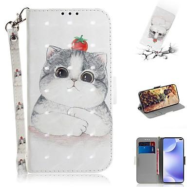 Недорогие Чехлы и кейсы для Xiaomi-чехол для xiaomi 9 lite / mi 9t / mi 9t pro кошелек / визитница / флип чехлы для всего тела кошка из искусственной кожи для xiaomi cc9 / cc9e / note 10 pro / redmi k30 / k20 pro / note 8t / note 8/8 /