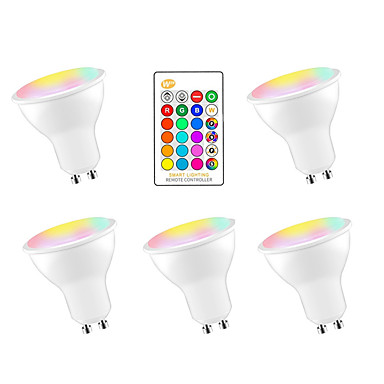 رخيصةأون LED وإضاءة-5pcs 5 W مصابيح صغيرة LED 350 lm GU10 E26 / E27 3 الخرز LED مصلحة الارصاد الجوية 5050 Smart تخفيت حزب RGBW 85-265 V / بنفايات