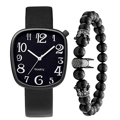 Недорогие Часы на кожаном ремешке-Муж. Нарядные часы Кварцевый Стильные На каждый день Крупный циферблат Аналоговый Белый Черный Коричневый / Один год / Нержавеющая сталь / Кожа