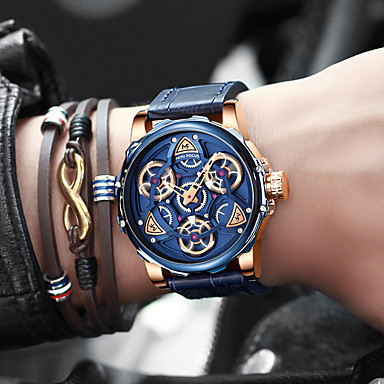 cheap Men's Watches-MINI FOCUS Men's Sport Watch Japanese Quartz Stylish Genuine Leather Blue / Brown 30 m Water Resistant / Waterproof Analog Fashion - Black+Gloden Blue Brown One Year Battery Life