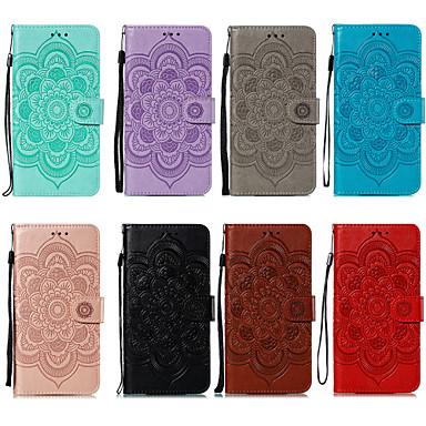 Недорогие Чехлы и кейсы для LG-Кейс для Назначение LG LG V40 / LG K30 / LG K40 Бумажник для карт / Защита от удара Чехол Цветы Кожа PU