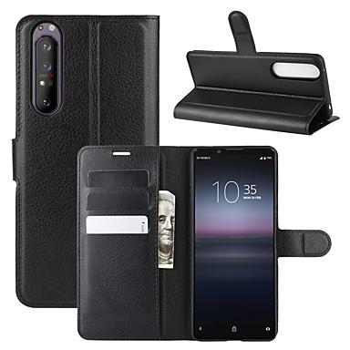 Недорогие Чехлы и кейсы для Sony-Кейс для Назначение Sony Sony Xperia 1 II Кошелек / Бумажник для карт / Защита от удара Чехол Однотонный Кожа PU