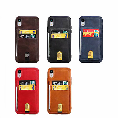 Недорогие Кейсы для iPhone-Кейс для Назначение Apple iPhone XR / iPhone 6s Plus / iphone 7Plus / 8Plus Защита от удара Кейс на заднюю панель Плитка Настоящая кожа / ТПУ