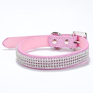 baratos Coleiras, Peitorais e Guias para Cães-Cachorro Colarinho Retratável Strass PU Leather Vermelho Rosa claro
