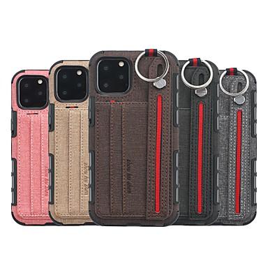 Недорогие Кейсы для iPhone-Кейс для Назначение Apple iPhone 11 / iPhone 11 Pro / iPhone 11 Pro Max Бумажник для карт / Защита от удара / Кольца-держатели Кейс на заднюю панель Плитка ТПУ / холст