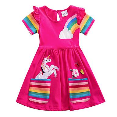 cheap Girls' Dresses-Kids Girls' Flower Cute Blue & White Blue Red Striped Rainbow Cartoon Embroidered Pleated Short Sleeve Knee-length Dress Blue