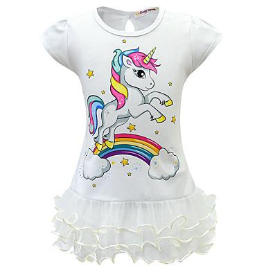 cheap Girls' Dresses-Kids Girls' Active Sweet Unicorn Patchwork Cartoon Layered Mesh Short Sleeve Above Knee Dress Purple