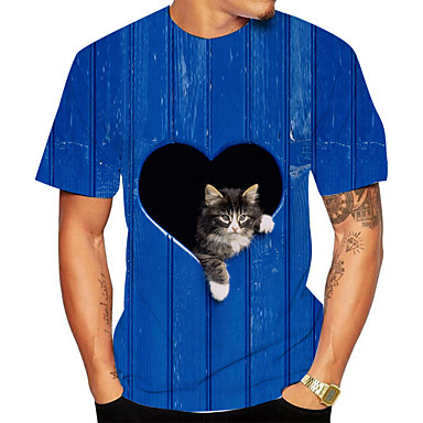 cheap Men's Tops-Men's Plus Size Striped 3D Cat Print T-shirt Basic Daily Going out Round Neck Royal Blue / Short Sleeve / Animal
