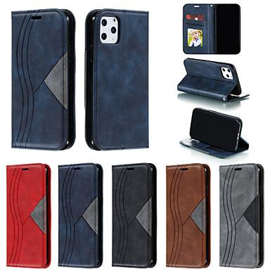 Недорогие Кейсы для iPhone-чехол для apple iphone 11/11 pro / 11 pro max / x / xs / xr / xs max / 7p / 8p / 7/8 держатель карты / противоударный / флип чехлы для тела сплошная цветная кожа