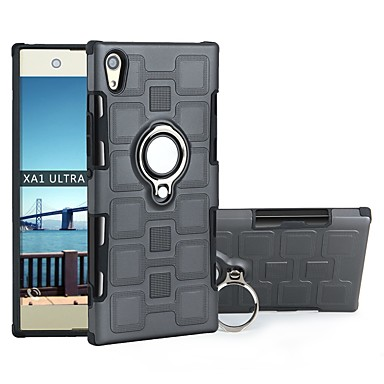 Недорогие Чехлы и кейсы для Sony-Кейс для Назначение Sony Sony Xperia XZ1 Защита от удара / со стендом Чехол Плитка ТПУ