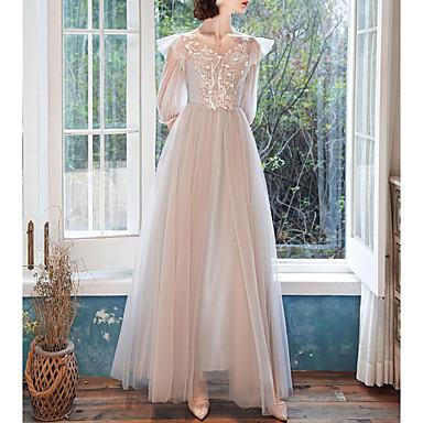 hesapli Nedime Elbiseleri-A-Şekilli Taşlı Yaka Yere Kadar Tül Nedime Elbisesi ile Aplik / İlüzyon / Açık Sırtlı
