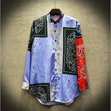 cheap Men's Shirts-Men's Color Block Shirt Sports Black / Long Sleeve