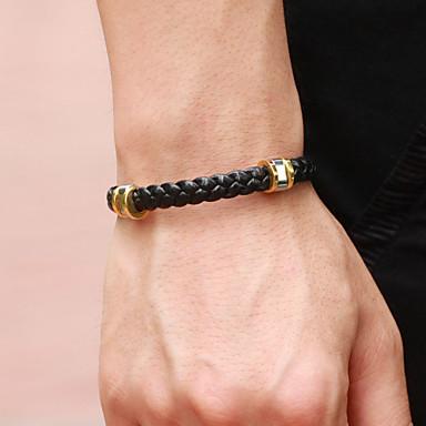 cheap Men's Jewelry-Men's Leather Bracelet Hologram Bracelet Bracelet woven Fashion Stylish Simple Punk European Rock Titanium Steel Bracelet Jewelry Black For Anniversary Sport Formal Date Festival / Loom Bracelet