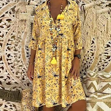 cheap Print Dresses-Women's A Line Dress - 3/4 Length Sleeve Floral Print Spring & Summer Shirt Collar Holiday Beach Loose Oversized 2020 Red Yellow Green S M L XL XXL XXXL XXXXL XXXXXL