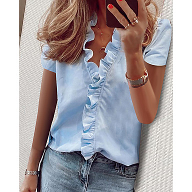 cheap Blouses & Shirts-Women's Daily Blouse Shirt Solid Colored Ruffle Short Sleeve Tops V Neck White Blue Green / Work / Puff Sleeve