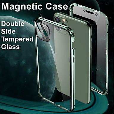 Недорогие Кейсы для iPhone-магнитный адсорбционный металлический корпус из закаленного стекла для iphone se 2020 / x / xs / xr / xs max / 8/8 plus / 7 / 7plus coque 360 защитные чехлы для iphone 11 pro max / 11/11 pro