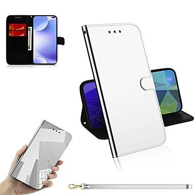 Недорогие Чехлы и кейсы для Xiaomi-Кейс для Назначение Xiaomi Xiaomi Redmi 7 / Xiaomi Mi 9T / Xiaomi Mi 9T Pro Кошелек / Бумажник для карт / Зеркальная поверхность Чехол Однотонный Кожа PU