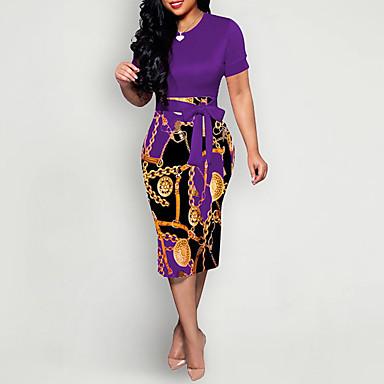 cheap Print Dresses-Women's Sheath Dress - Short Sleeve Geometric Elegant Slim Wine Blue Purple Red Army Green Green S M L XL XXL