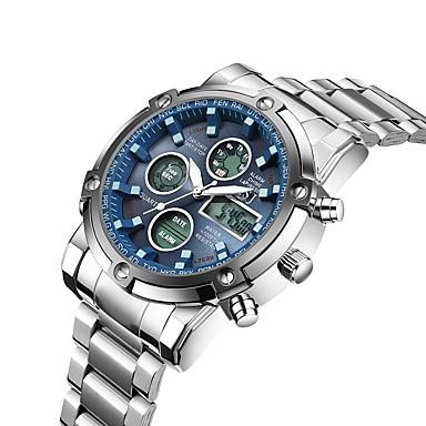 Недорогие Часы на металлическом ремешке-ASJ Муж. Спортивные часы Армейские часы электронные часы Цифровой На каждый день Защита от влаги Аналого-цифровые Черный Серебристый / Синий Серебро / черный / Один год / Нержавеющая сталь