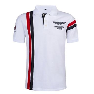 cheap Men's Polos-Men's Color Block Stripes Slim Polo Shirt Collar White / Red / Navy Blue