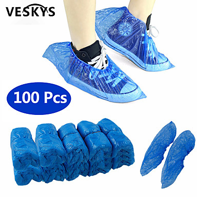 cheap Electrical & Tools-VESKYS 100Pcs Disposable Plastic Anti Slip Boot Safety Shoe Cover Cleaning  Plastic Over Shoes Shoe Boot Covers Carpet Protectors