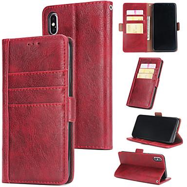 Недорогие Кейсы для iPhone-Кейс для Назначение Apple iPhone XR / iphone X / XS Бумажник для карт / со стендом Чехол Плитка Настоящая кожа / ТПУ