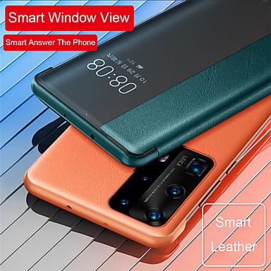 Недорогие Чехлы и кейсы для Huawei-умный вид из окна флип кожаный чехол для huawei p40 p40 pro p30 pro mate 30 pro чехол для телефона авто сна будильник