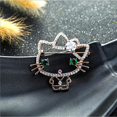 cheap Brooches-Women's Cubic Zirconia Brooches Classic Flower Shape Stylish Simple Classic Brooch Jewelry Gold Silver For Party Gift Daily Work Festival
