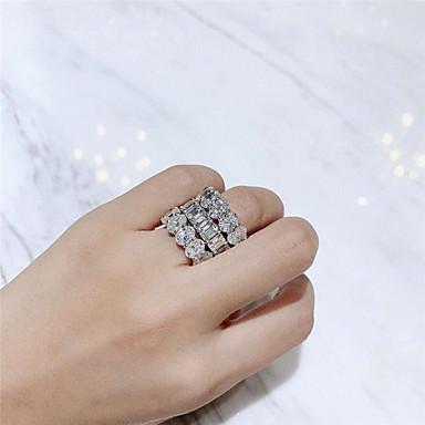זול תכשיטים מהודרים-יהלום סינתטי טבעת כסוף עבור בגדי ריקוד נשים נשים פאר אלגנטית ירח דבש חתונה מסיבה / ערב רשמי איכות גבוהה לסלול