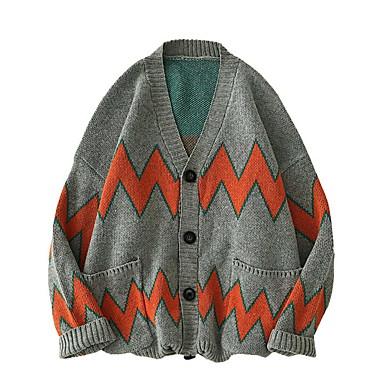 povoljno Muški džemperi i kardigani-Muškarci Color block Dugih rukava Kardigan Džemper od džempera, V izrez Sive boje US32 / UK32 / EU40 / US34 / UK34 / EU42 / US36 / UK36 / EU44