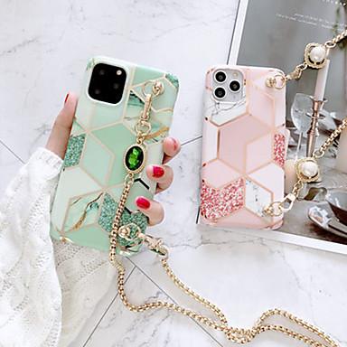 Недорогие Кейсы для iPhone-iphone 11pro max matcha зеленый шить мраморный чехол для телефона xs max можно откинуть назад длинный шнур металлической цепью 6/7 / 8 плюс защитный чехол