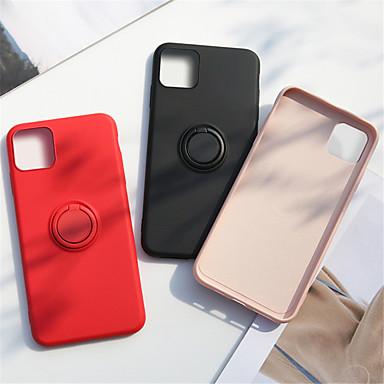 Недорогие Кейсы для iPhone-чехол для яблока iphone 11 / iphone 11 pro / iphone 11 pro max держатель кольца задняя крышка сплошной цвет силикон / металл