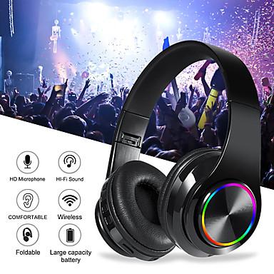 Недорогие Наушники для геймеров-B39 красочные беспроводные Bluetooth-гарнитура светодиодные головные HIFI бас стерео звуковой эффект Bluetooth 5.0 наушники