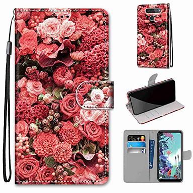 Недорогие Чехлы и кейсы для LG-Чехол для LG Q70 / LG K50S / LG K40S кошелек / визитница / с подставкой для всего тела Чехлы из розовой кожи ПУ / ТПУ для LG K30 2019 / LG K20 2019