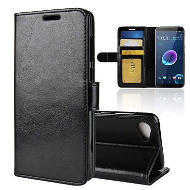 Недорогие Чехлы и кейсы для HTC-Кейс для Назначение HTC HTC U11 plus / HTC U11 Life / HTC U11 Eyes Кошелек / Бумажник для карт / Защита от удара Чехол Однотонный Кожа PU