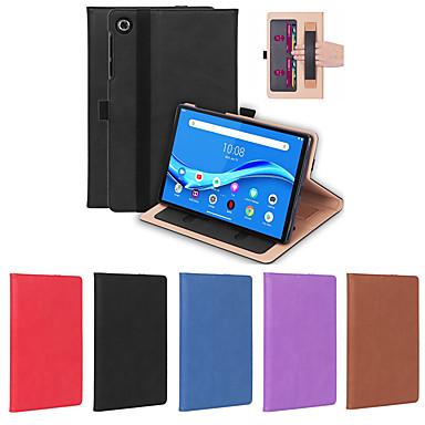 Недорогие Чехол для планшета Lenovo-Кейс для Назначение Планшеты Lenovo M10 Plus TB-X606F Бумажник для карт / Защита от удара Чехол Однотонный ТПУ