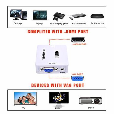 Недорогие VGA-LITBest VGA Конвертер, VGA к HDMI 2.0 / VGA / 3,5 мм аудио разъем Конвертер Male - Female 1080P Позолоченная медь Короткий (менее 20 см)