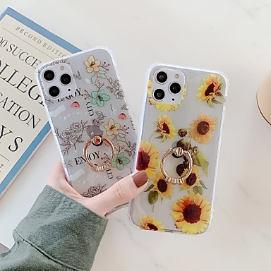 Недорогие Кейсы для iPhone-чехол для карты яблока сцены iphone 11 11 pro 11 pro max x xs xr xs max 8 цветочный узор полупрозрачный матовый материал тпу imd процесс четырехсторонний кронштейн с полукруглым кольцом универсальный