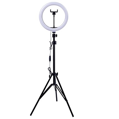 baratos bastão-tripod para selfie-26 cm led selfie ring light 24w 5500k studio photography photo fill ring light with tripod for iphone smartphone makeup