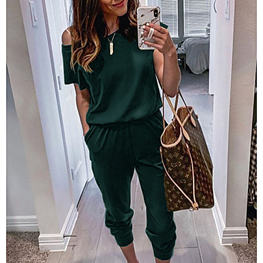 cheap Women's Tops-Women's Basic Black Wine Army Green Pencil Jumpsuit Onesie, Solid Colored S M L