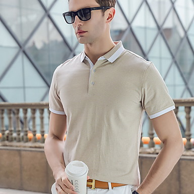 cheap Men's Polos-Men's Striped Polo Daily Shirt Collar Black / Beige / Gray / Short Sleeve