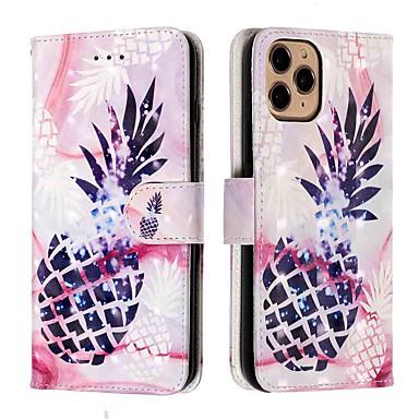 Недорогие Кейсы для iPhone-чехол для apple iphone 11 / iphone 11 pro / iphone 11 pro max кошелек / держатель карты / с подставкой для всего тела чехол фиолетовый ананас из искусственной кожи / тпу для iphone xs max / xr / xs /