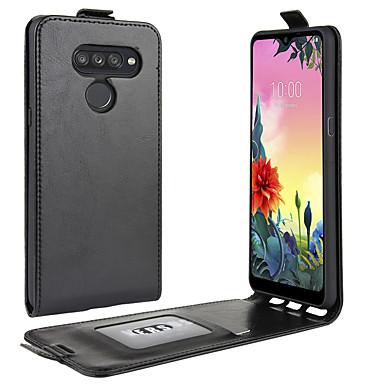Недорогие Чехлы и кейсы для LG-Кейс для Назначение LG LG Q Stylus / LG V50 ThinQ / LG V30 Бумажник для карт / Защита от удара / Флип Чехол Однотонный Кожа PU